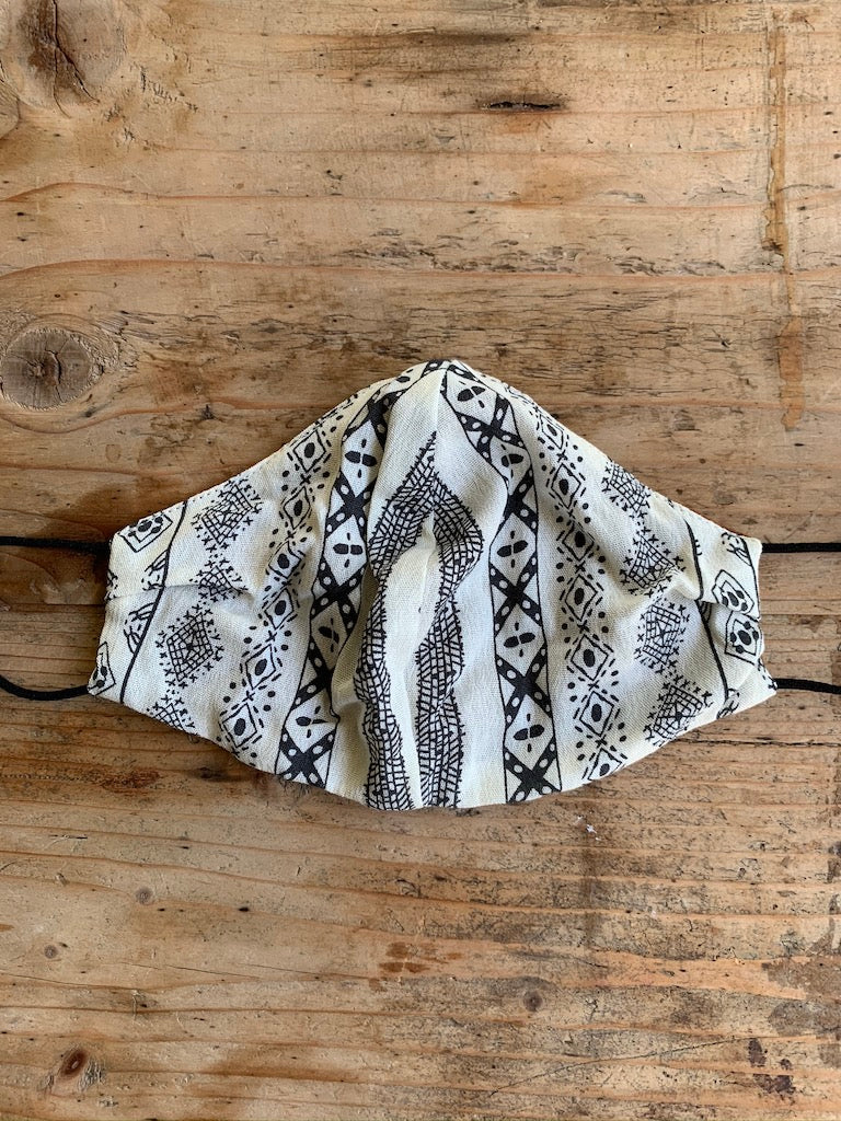 Mask - Printed White & Brown