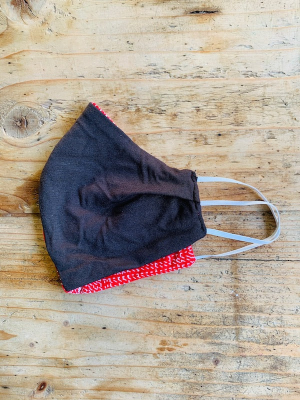 Mask - Washed Black & Printed Red