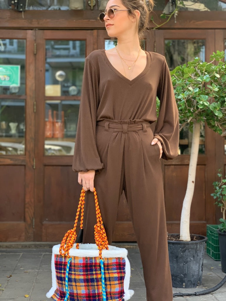 Isabelle Suit in Ribbed Brown