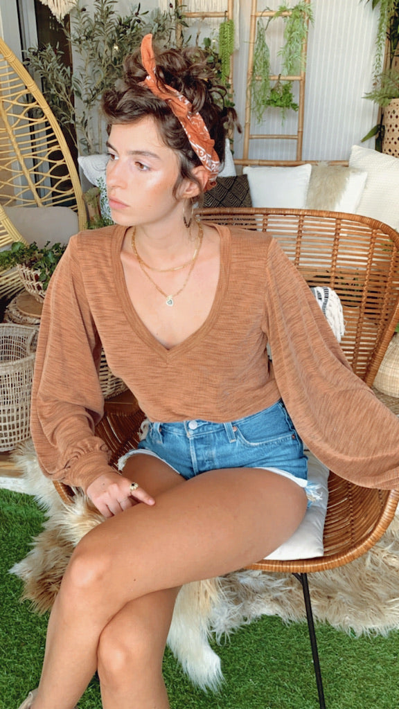 Isabelle Top in Ribbed Nude