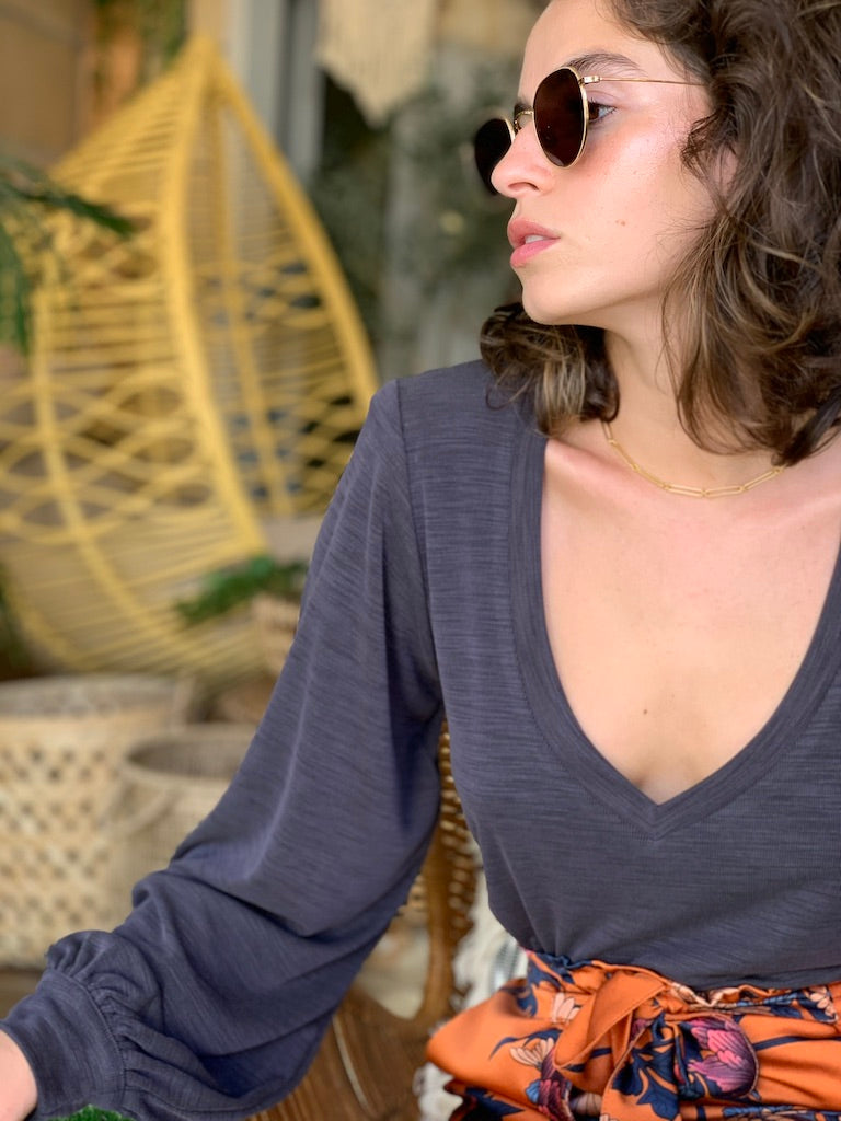 Isabelle Top in Ribbed Grey