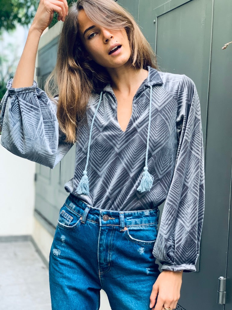 Valentina Top in Shiny Grey Velvet