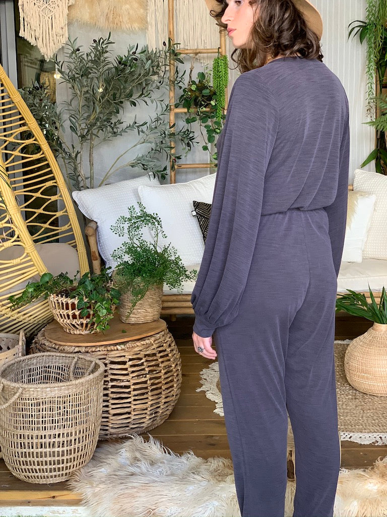 Isabelle Suit in Ribbed Grey