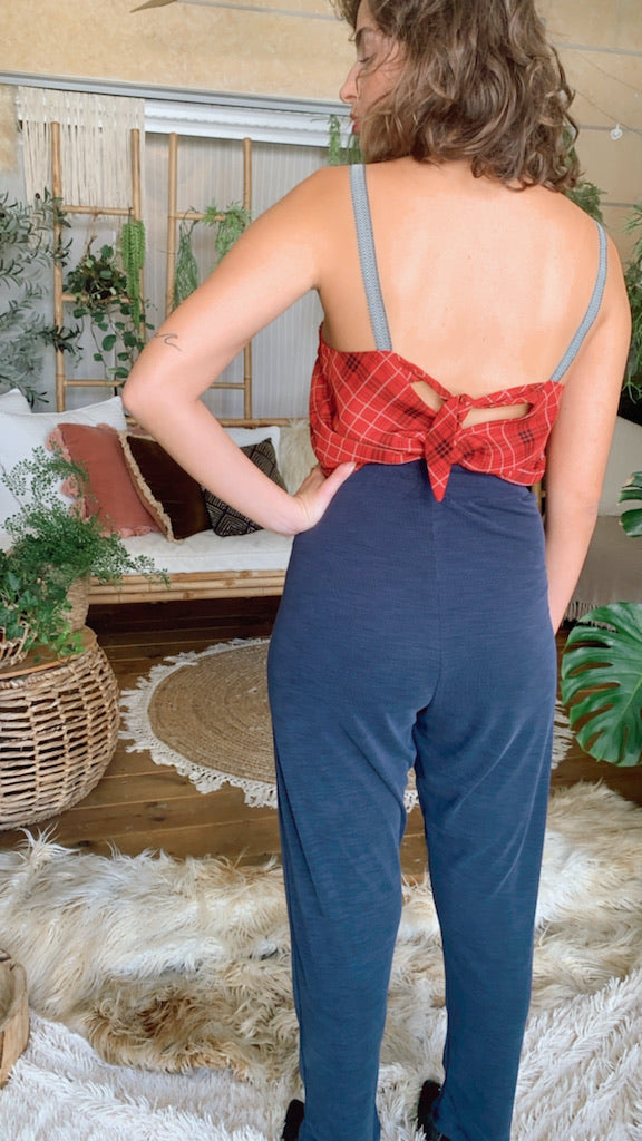 Isabelle Pants in Ribbed Navy