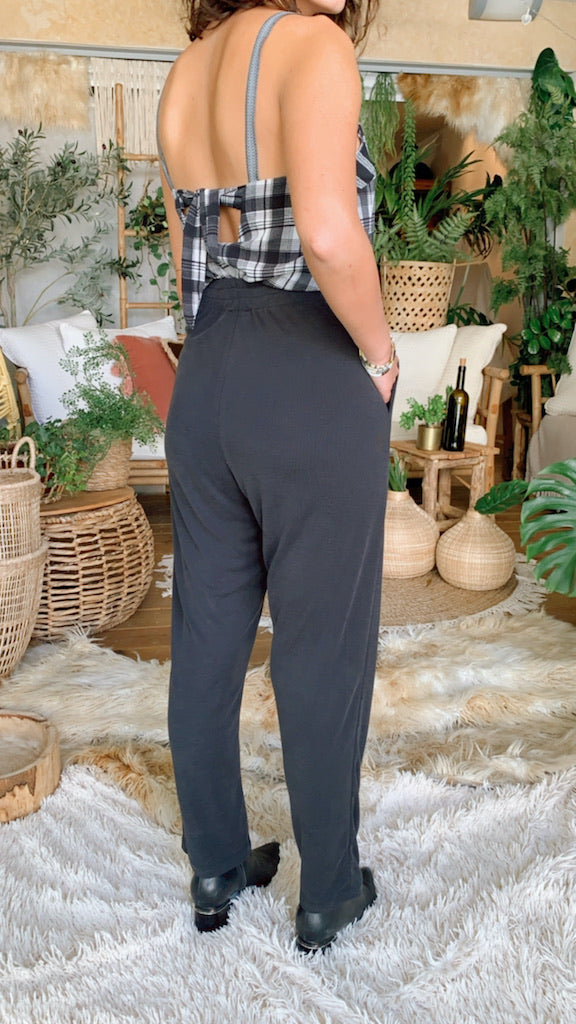 Isabelle Pants in Ribbed Black