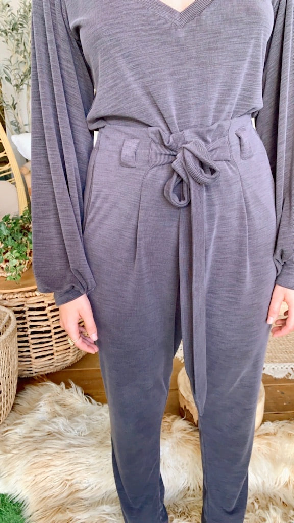 Isabelle Pants in Ribbed Grey