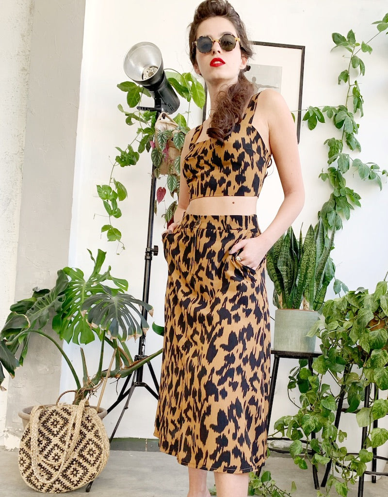 London Midi Skirt in leopard