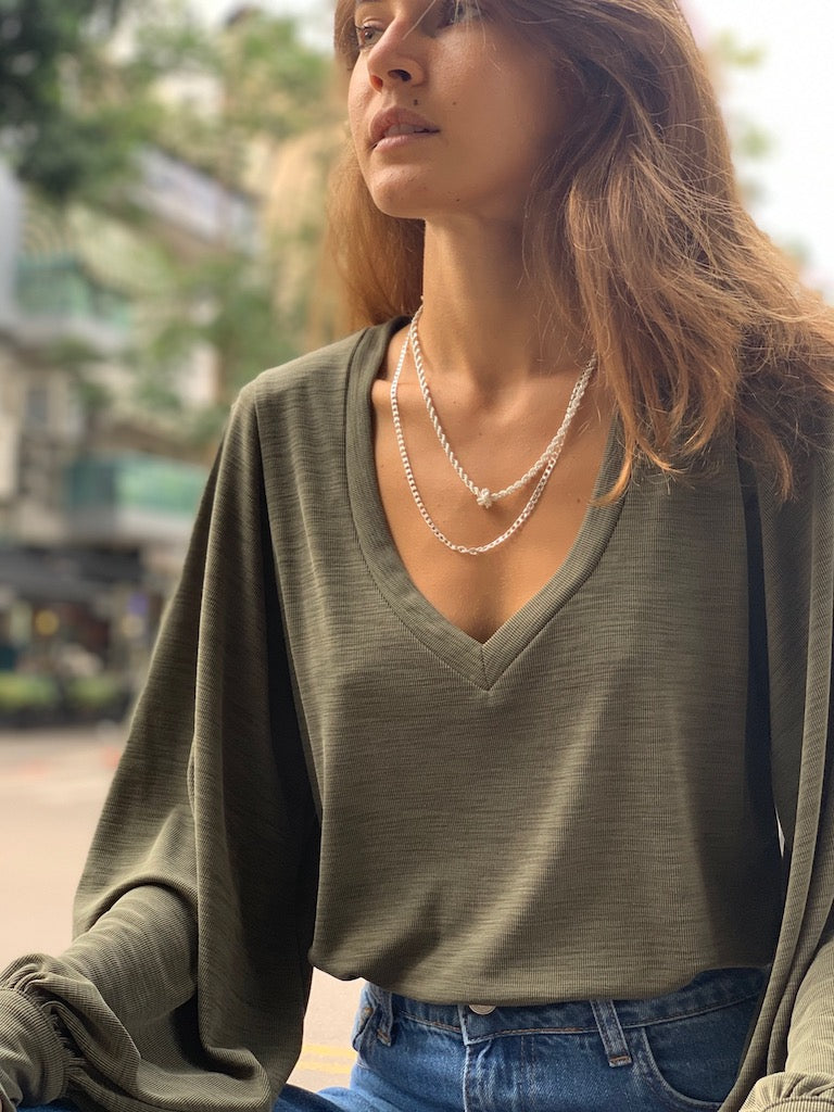 Isabelle Top in Ribbed Olive