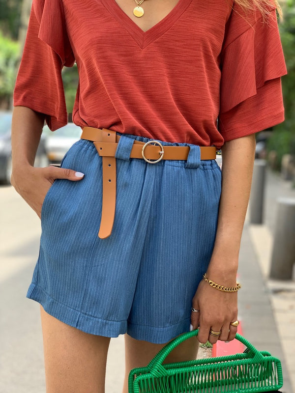 Johnsy Shorts - Blue Denim color