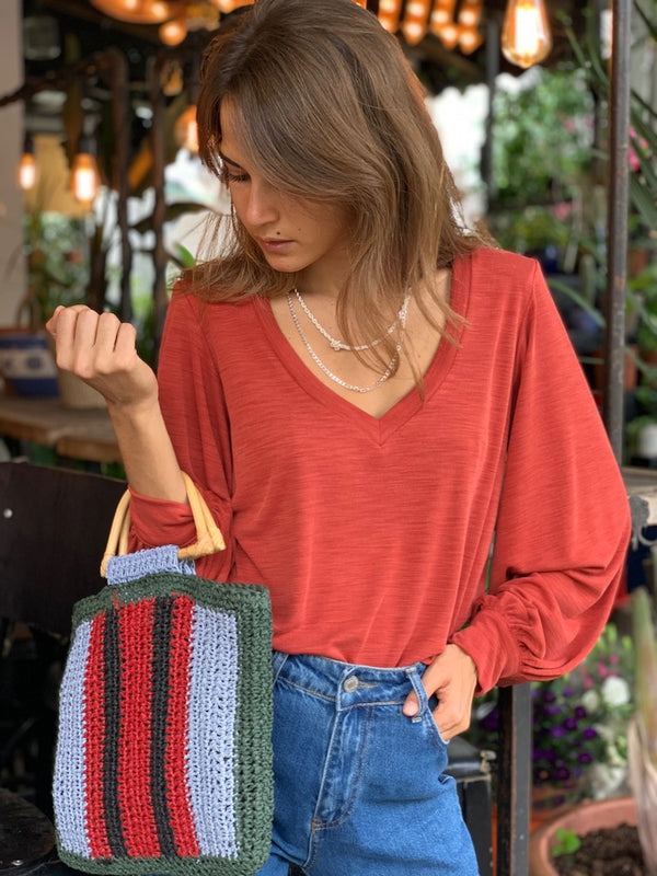 Isabelle Top in Ribbed Brick
