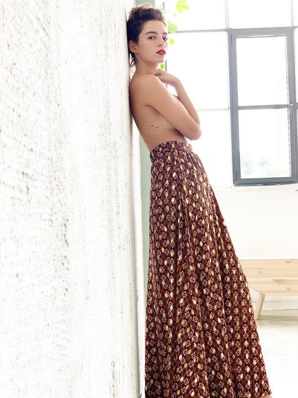 Manhattan Maxi skirt in Red & Gold