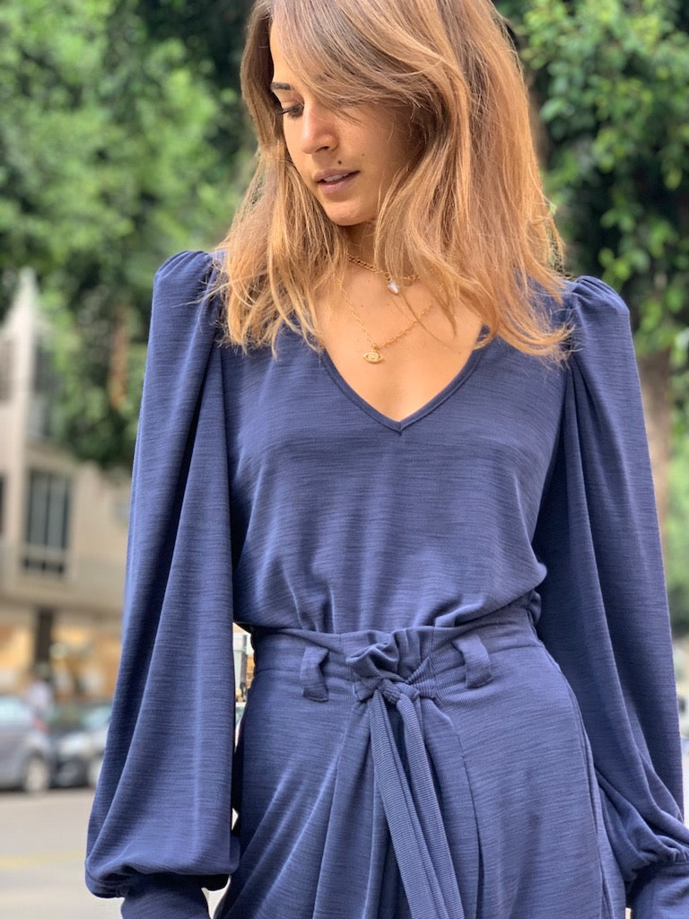 Louise Top in Ribbed Navy
