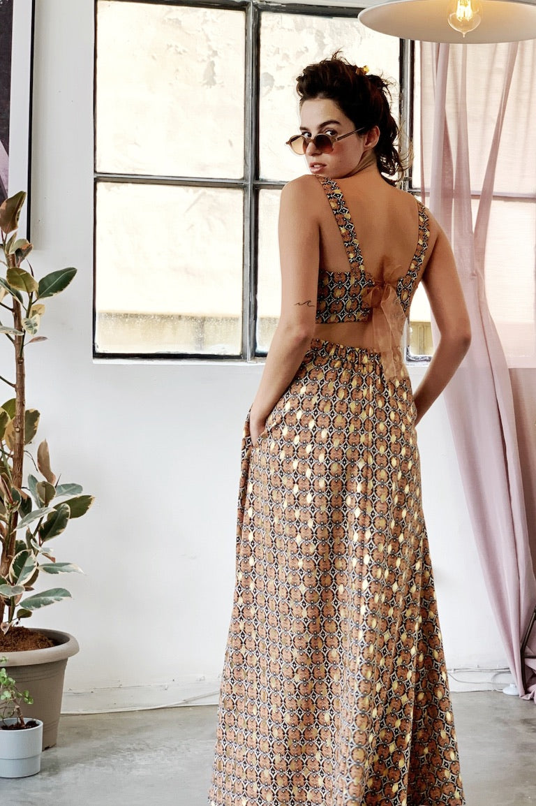 Manhattan Maxi skirt in Peach & Gold