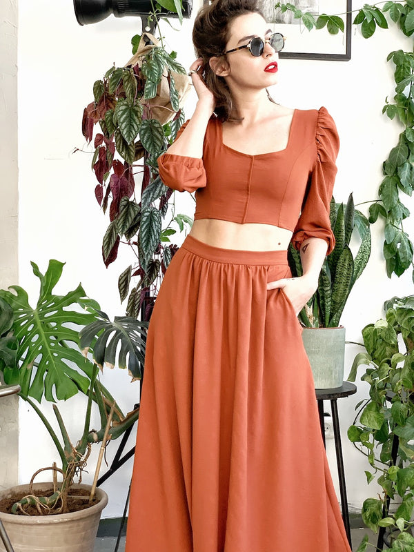 Manhattan Maxi skirt in Brick