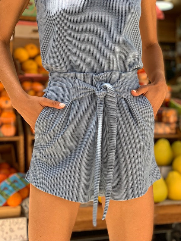 Waffle Shorts in Baby Blue