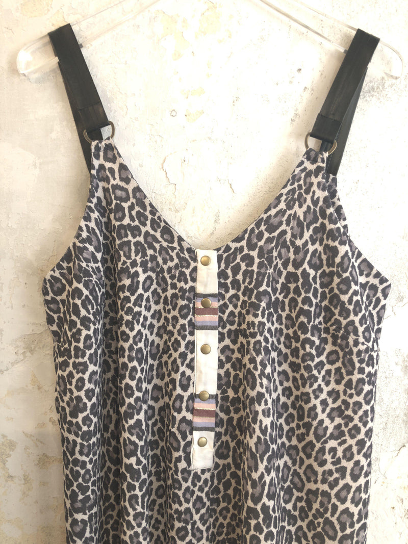 Mini Palma Dress In Grey Leopard Print