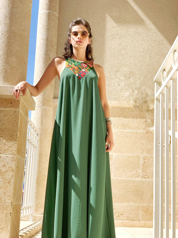 Maxi Monaco in Green & Colorful Embroidery