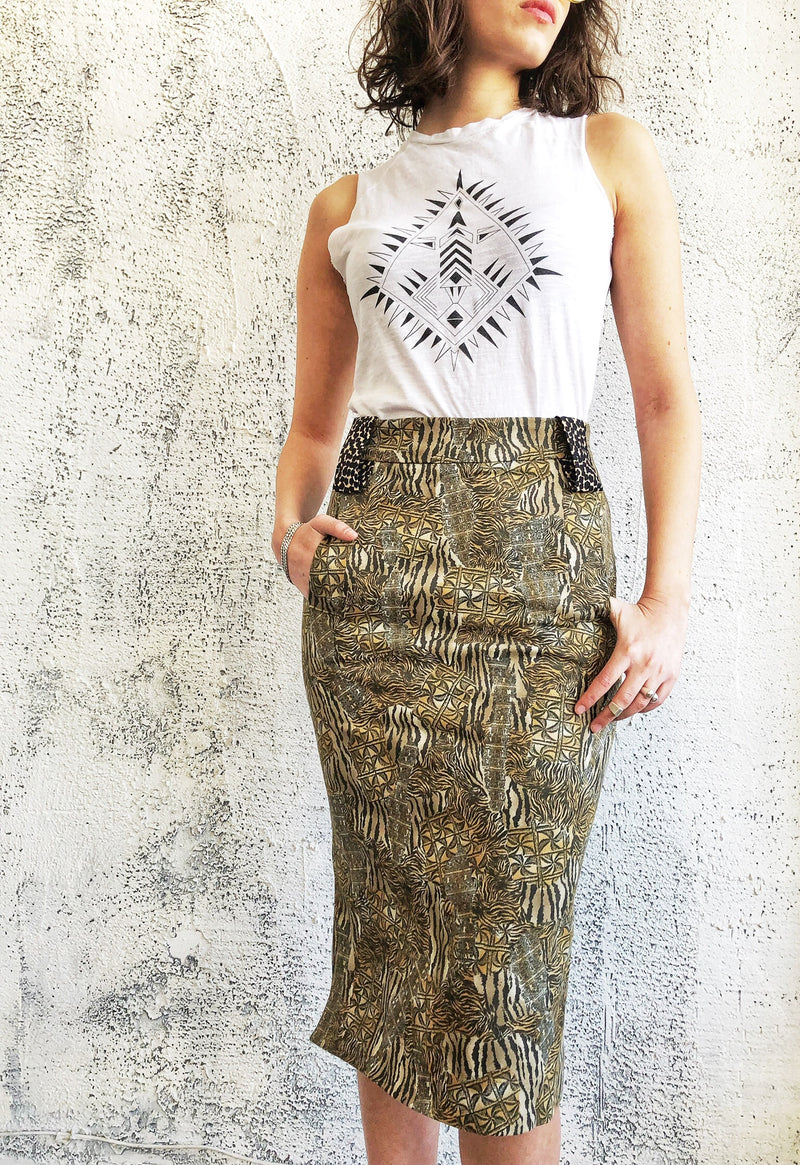 Pencil Skirt with pockets in Jungle Print