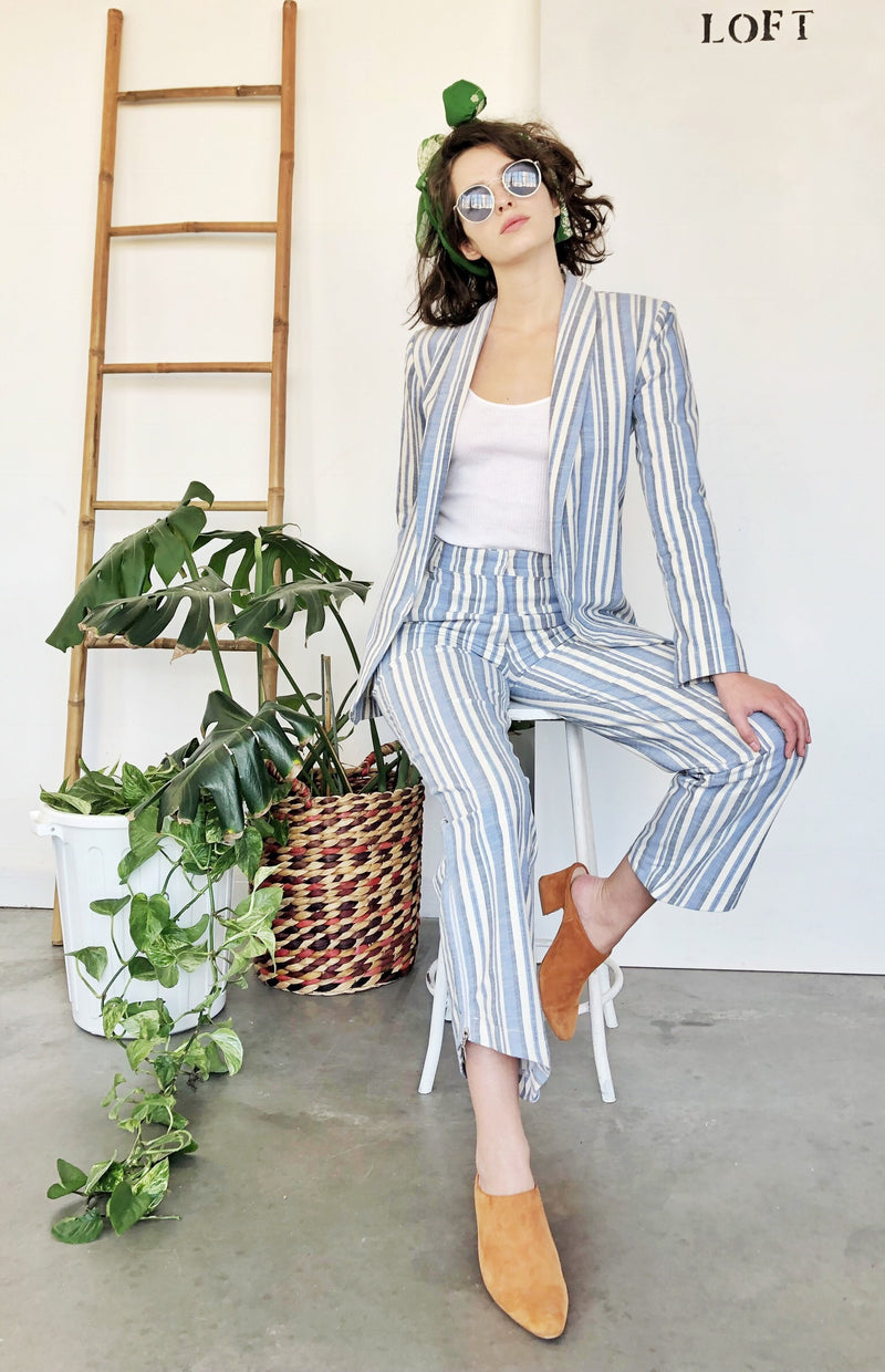 Blue and white Striped Suit - Blazer