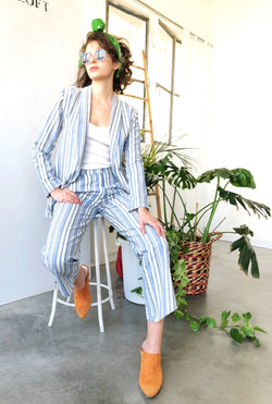 Blue and white Striped Suit - Trousers