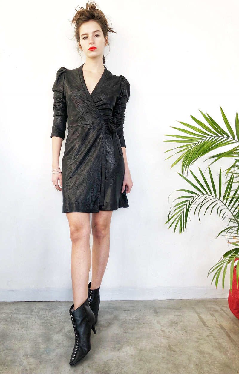 Milano wrap dress in Black Shine