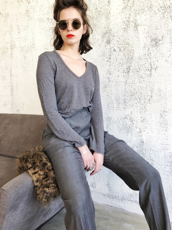 V neck SELENA top in knitted Grey