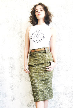 Pencil Skirt with pockets in Green Croc Print
