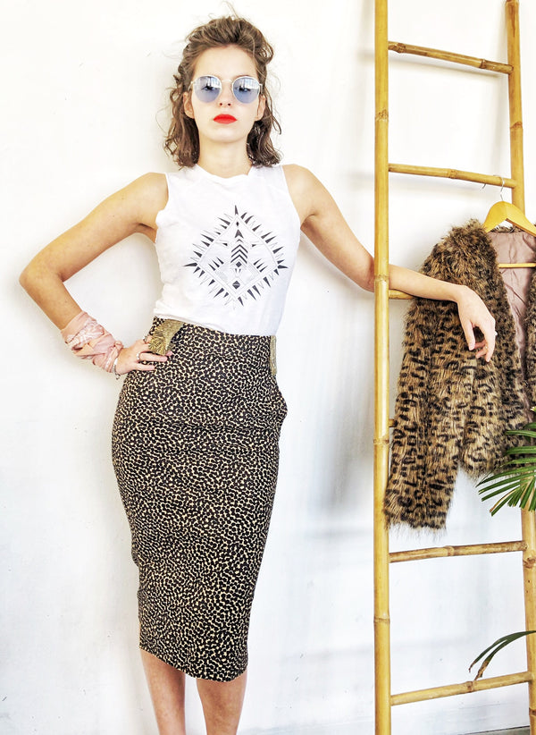 Pencil Skirt with pockets in Leopard print