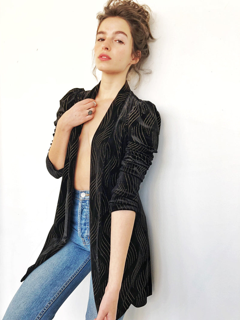 Berlin Jacket in Black velvet with gold embellishments