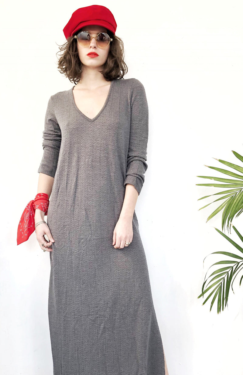 V neck Maxi SELENA Dress in knitted Grey