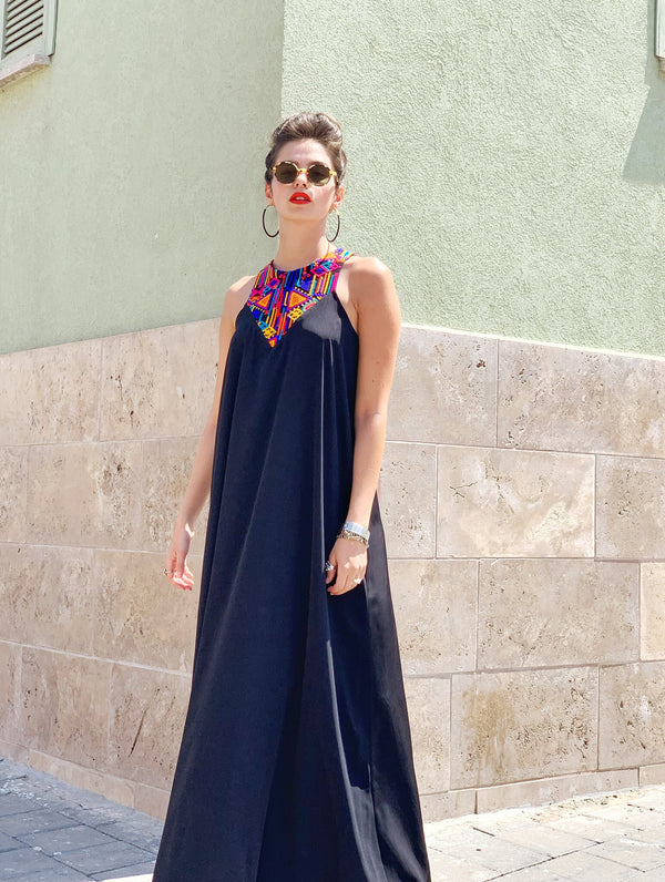 Maxi Monaco in Black & Colorful Embroidery