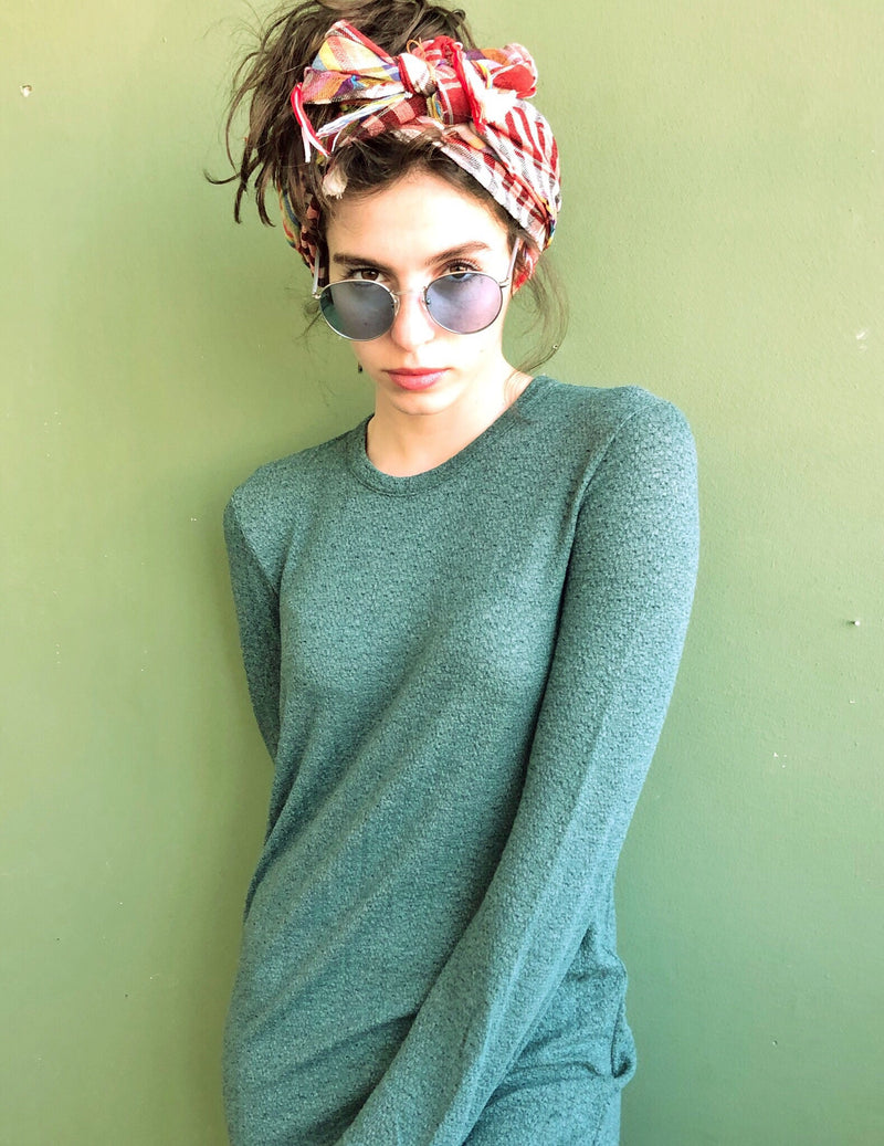 Crew neck Maxi SELENA Dress in knitted Green