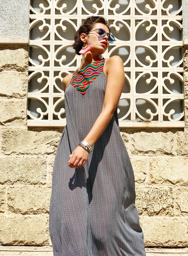Maxi Monaco in Grey & Colorful Embroidery