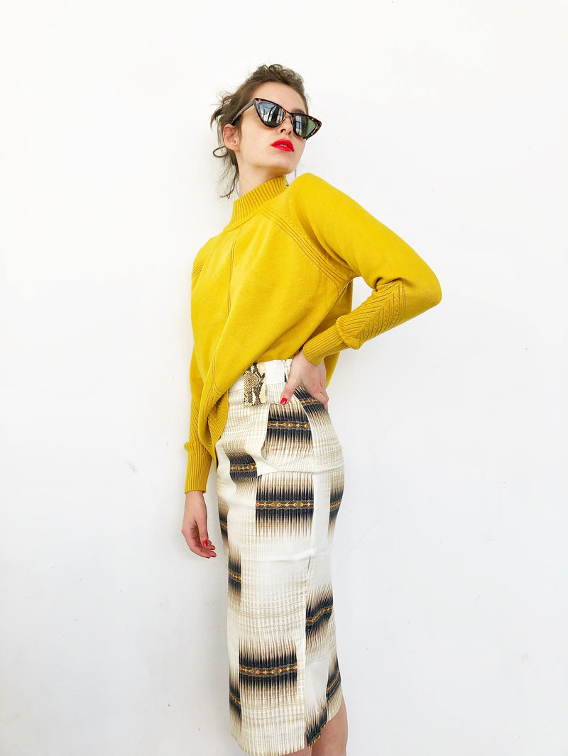Pencil Skirt with pockets in Ethnic Brown print