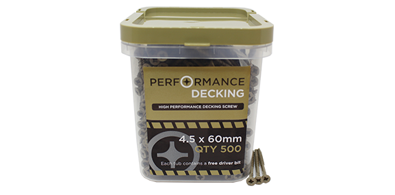 Tub - M4.5 x 60mm Performance Decking Screws - 500 Qty - MSS Timber
