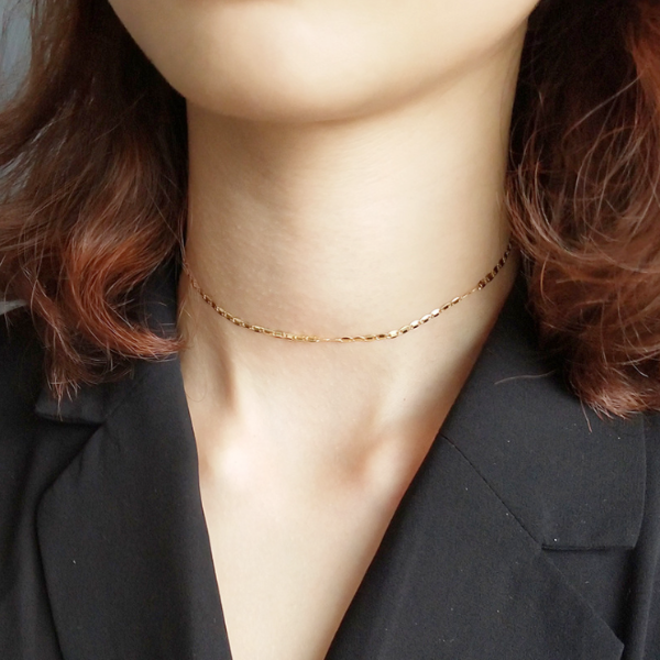 Plated Plain Chain Choker Necklace