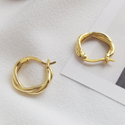 Stylish Hoop Twisted Gold  Earrings