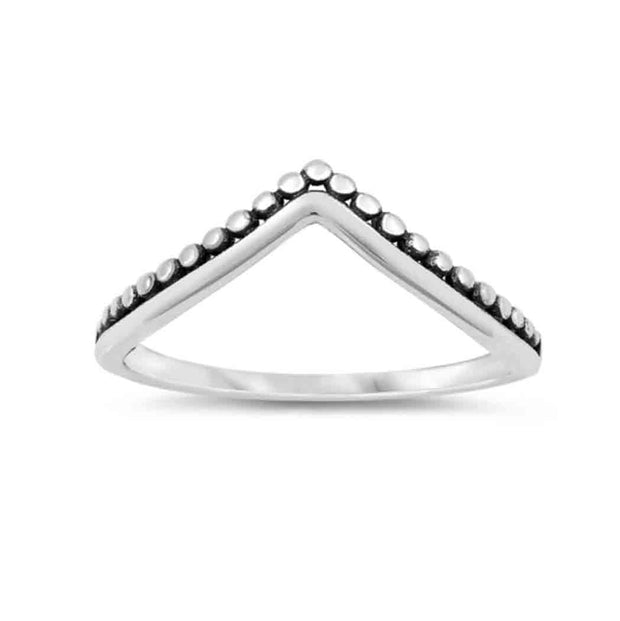 V Shape with Beads Ring