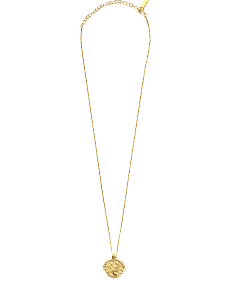 Leo with Arc Gold Coin Necklace