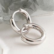 Plain Rounded Hoop Huggies Earrings