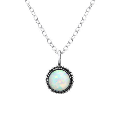 White Opal Vintage Silver Necklace