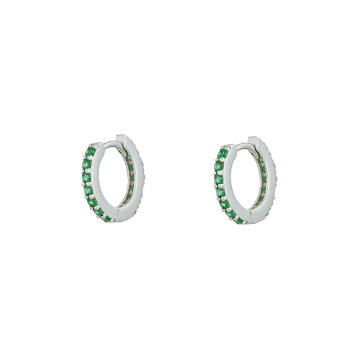 Green Full Cz  Little Hoop Huggies