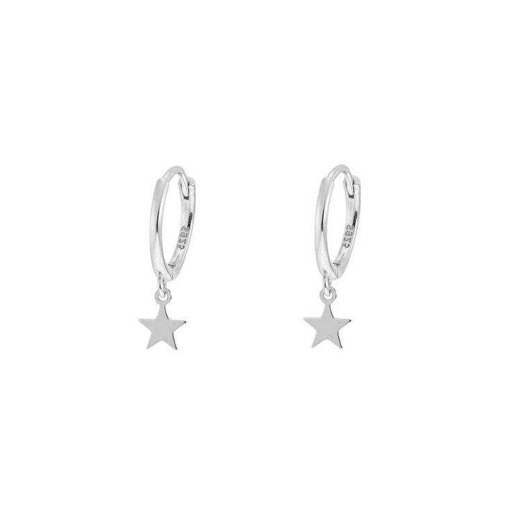 Little Star Dangle Hoop Huggies Earrings