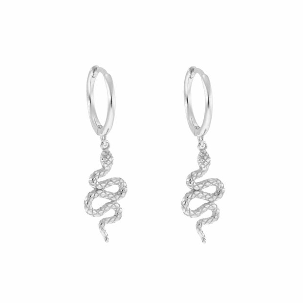 Ophelia Snake Dangle Hoop Huggies Earrings