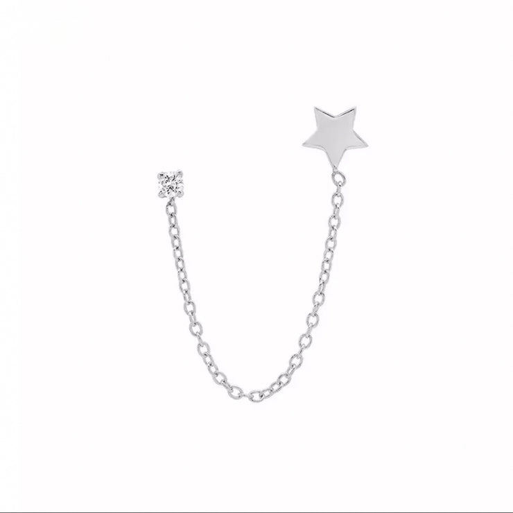 Shining Zirconia and Star Silver Chain Stud Earrings