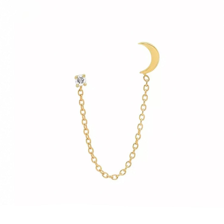 Shining Crystal and Moon Gold Chain Stud Earrings