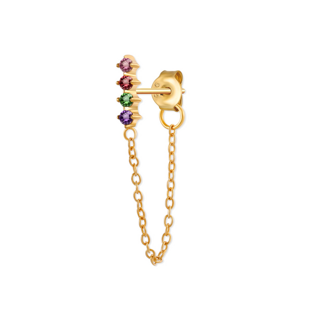 Rainbow Bar Gold Chain Stud Earrings