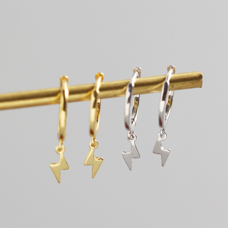 Lightning Bolt sterling silver earrings goldplated hoops