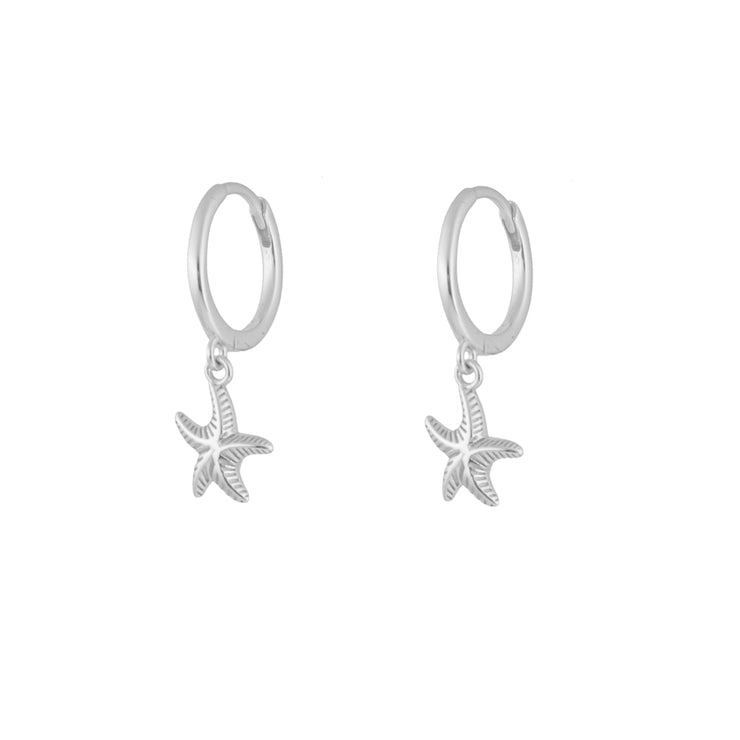 Starfish Silver Dangle Hoop Huggies