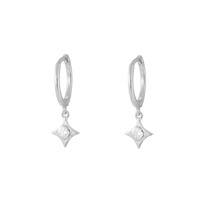 East Star Silver Dangle Hoop Huggies